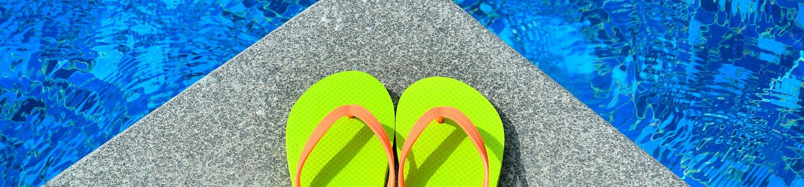 Sandles near pool